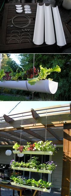 DIY Outdoor Vertical Garden DIY Hanging Gutter Garden; i ACTUALLY LIKE THE PATIO COVER ON THIS PROJECT.