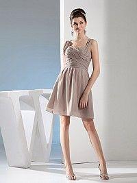 Cap Sleeved Sweetheart Mini Chiffon Bridesmaid Dress