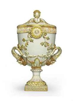 A MEISSEN NEOCLASSICAL STYLE URN AND COVER--LATE 19TH CENTURY, BLUE CROSSED SWORDS MARK, PRESSNUMMERN 133 AND 140, CS MONOGRAM AND IMPRESSED 99, PAINTER'S PUCE 13. MARK