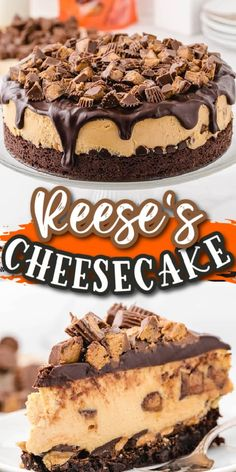This Reese's Cheesecake is as delicious as it sounds. It starts with a perfectly baked brownie crust that's filled with chocolate and peanut butter chips followed by creamy peanut butter cream cheese filling and topped with Reese's Peanut Butter Cups. Rich and decadent, it's perfect for any occasion! Peanut Butter Cup Cheesecake, Peanut Butter Desserts, Peanut Butter Chips, Reeses Peanut Butter, Brownie Cheesecake, Chocolate Cheesecake Recipes, Cheesecake Desserts, Chocolate Cheese Cakes, Peanut Butter Birthday Cake