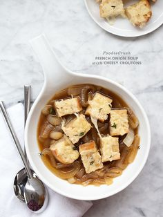 Easy French Onion Soup with Cheesy Croutons via @Heidi Larsen : FoodieCrush
