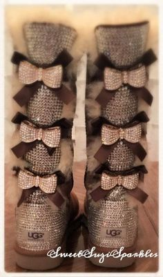 Tall Bailey Bow Ugg boots with tons of BLING