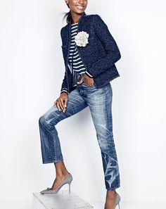 J.Crew women's metallic tweed jacket, Saint James® unisex Meridien II nautical…