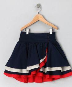 Navy & Red Wrap Skirt - Girls by Aioty & Masala Baby Baby Girl Skirts, Baby Skirt, Little Dresses, Little Girl Dresses, Baby Dress, Girls Dresses, Toddler Skirt, Skirts For Kids, Girl Dress Patterns