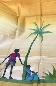 Yellow Handpainted Bhagalpur Tussar Silk  Kurti fabric