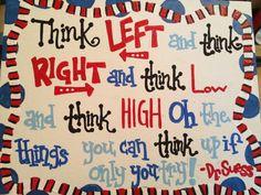 Dr. Suess Think quote inspirational nursery classroom teacher kids room sign decor Dr. Seuss quotes. $25.00, via Etsy.