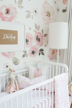hello darling print and watercolor floral wallpaper in a baby girl's nursery