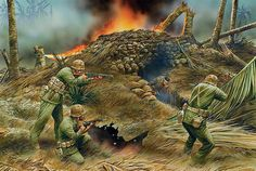 """Clearing a bunker""""  During the fighting on Tarawa during November 20–23, 1943, US Marines of the 2nd Marine Division clear Japanese troops from a bunker, using an M2 flamethrower"""