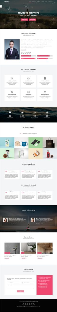 Folder is clean and modern design responsive #HTML bootstrap template for #portfolio and #resume website with multiple homepage layouts download now➩ https://themeforest.net/item/folder-freelancer-one-page-portfolio-resume-html5-template/19697286?ref=Datasata