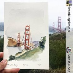Repost from Got a late start so I probably won't be able to sketch as much today.but if my only sketch of the day is the Golden Gate Bridge, I'm not mad about it! Painting & Drawing, Watercolor Paintings, Watercolours, Busan, Drawing Sketches, Art Drawings, Sketching, Golden Gate Bridge Painting, San Francisco Art
