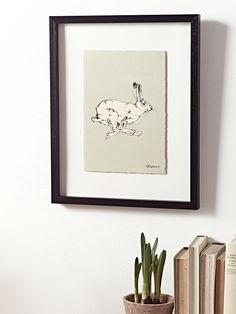 Framed Running Hare Print