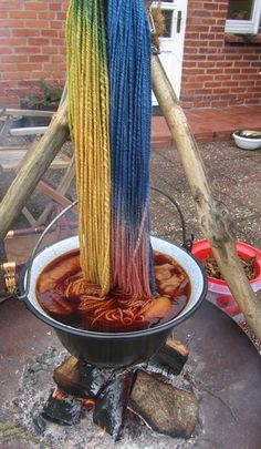 Natural Dye ~ Dying wool over a wood fire