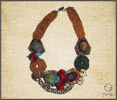 Agate Necklace with Claret Red Turkish Needle Lace by FILIZASLI, $62.00
