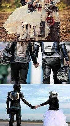 Biker Couple, Motorcycle Couple, Motorcycle Wedding, Couple Pictures, Wedding Pictures, Motocross, Frases Biker, Anniversary Boyfriend, Marriage Anniversary