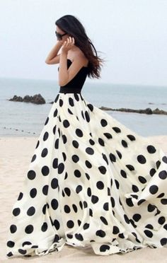 Beautiful black & white polka dot gown!