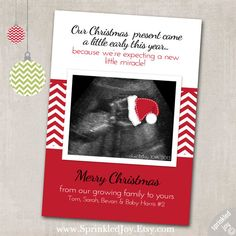 Christmas Pregnancy Announcement Digital Card 4x6 by SprinkledJoy, $9.95