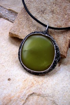 Metamorphosis - Green Serpentine Gemstone Pendant made with Tiffany technique on Etsy, $38.00