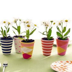 Another great Mother's Day idea.  Using old socks to make plant 'sleeves'.  Every child has a sock with no 'buddy'.  So cute!!
