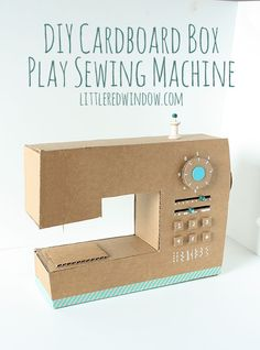 DIY Cardboard Box Play Sewing Machine |  littleredwindow.com | Great tutorial for an adorable play sewing machine made out of an old box! #sewing #diy #cardboard