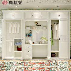 Целый шкаф твердой древесины изготовленные на заказ шкафы спальни раздвижные…