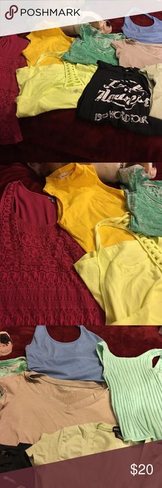 9 shirt bundle The blue halter, and two yellow shirts have never been worn. Sizes range from small to medium. Tops