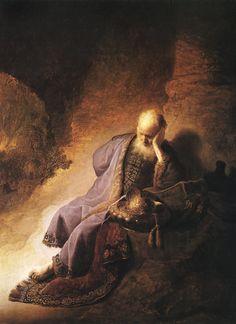 Rembrandt Harmensz. van Rijn: Jeremiah lamenting the destruction of Jerusalem (1630)