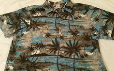XL Nui Nalu Blue Gray Black Palm Tree 100% Cotton Hawaiian Shirt Made in Hawaii #NuiNalu #Hawaiian