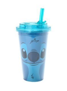 Blue acrylic travel cup from Disney's Lilo & Stitch with Stitch face design. Flip straw lid. BPA free.