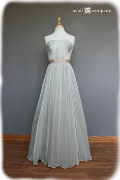 Strapless Vintage Style Silk Chiffon Dress with Ribbon by AvailCo, $500.00