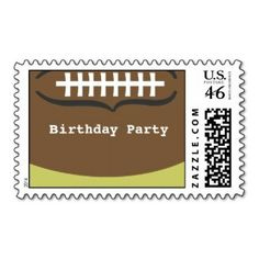 Birthday party postage stamps #football #kids