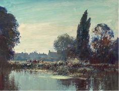 """Edward B. Seago. A Suffolk Backwater. 20""""x26"""" oil on canvas"""