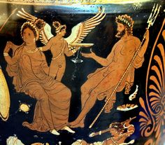 Poseidon, Aphrodite and Eros - at the Apulian krater, circa 340 BCE - at the British Museum Ancient Greek Art, Ancient Greece, Pottery Painting, Pottery Art, Greek Underworld, Greek Paintings, Greek Pottery, Greek History, Painted Vases