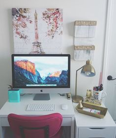 "854 Likes, 38 Comments - Madison Miller (@madison89miller) on Instagram: ""My new workspace in my beauty room! Now we just need to move the picture up higher and hang the…"""