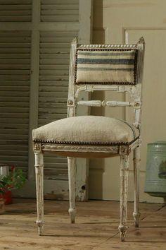 アンティーク シャビーフレンチチェア(アンティーク麻布)A  French Antique Chair