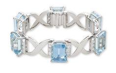 An aquamarine and diamond bracelet #christiesjewels