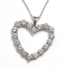 18ct White Gold Diamond Heart Necklace Using Customer's Diamonds, handmade by expert, #recommendedjewellers Form Bespoke Jewellers, Leeds, West Yorkshire #Valentines