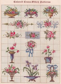Jarrones y flores en miniatura