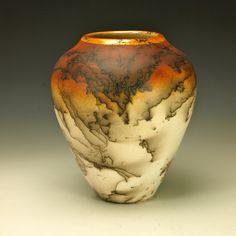 Horse Hair Raku Pottery, decorative southwest handmade vase black orange white gold. $190.00, via Etsy.
