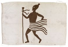 'Flag taken from a slaver captured off the east coast of Africa & sent to my father (W H Wylde of the Foreign Office) by Commodore Eardley Wilmot.' William Henry Wylde (1819-1909) was a superintendent of the Commercial, Consular and Slave Trade departments of the Foreign Office 1869-80 and was a member of the commission which sat in London, 1865, to revise Slave Trade Instructions.