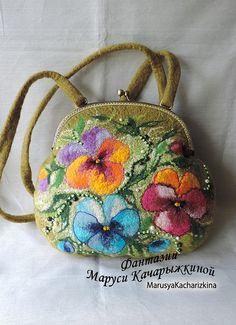 Handmade felted purse with pansy Wool purse by MarusyaKacharizkina ♡