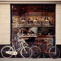 coffee shop and cute bikes.