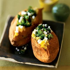 Sweet Potatoes Stuffed with Broccoli and Feta