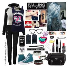 """""""Falling In Reverse"""" by lost-in-the-music ❤ liked on Polyvore featuring Balmain, Converse, Prada, NARS Cosmetics, Lipstick Queen, Zanellato, Bling Jewelry, Ray-Ban, Givenchy and B. Ella"""