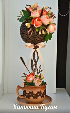 Топиарии от Катюши Кугач=) Floating Tea Cup, Branch Decor, Dollar Tree Decor, Flower Boxes, Topiary, Craft Gifts, Flower Tutorial, Paper Flowers, Floral Arrangements