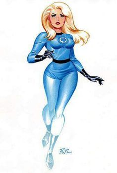 The Invisible Woman, (aka Invisible Girl), is a fictional super-heroine published by Marvel Comics. A founding member of the Fantastic Four, first female superhero created by Marvel during the Silver Age of Comics. Art by Bruce Timm Marvel Universe, Marvel Comics Art, Marvel Girls, Comics Girls, Marvel Dc Comics, Marvel Heroes, Marvel Women, Bruce Timm, Bruce Lee