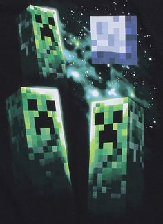 NX : Minecraft Three Creeper Moon Premium Tee - Clothing Inspired by Video Games & Geek Culture Minecraft Outfits, Minecraft Clothes, Gif Pictures, Geek Culture, Creepers, Geek Stuff, Auntie, Video Games, Swag