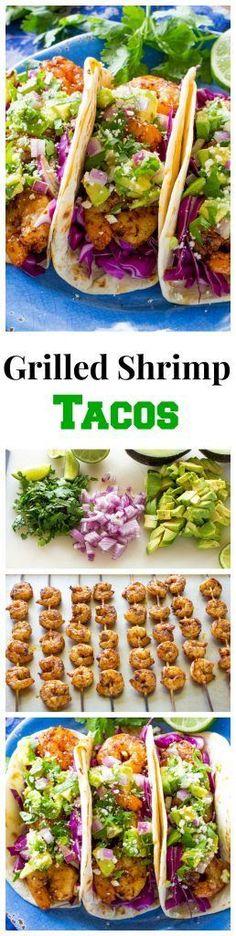 Shrimp Tacos with Avocado Salsa Recipe- The Girl Who Ate Everything These Grilled Shrimp Tacos with Avocado Salsa are light and refreshing! the-girl-who-ate-These Grilled Shrimp Tacos with Avocado Salsa are light and refreshing! the-girl-who-ate- Grilling Recipes, Fish Recipes, Seafood Recipes, Mexican Food Recipes, Dinner Recipes, Cooking Recipes, Healthy Recipes, Recipies, Healthy Grilling