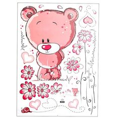 """Cute Lovely Pink Bear Nursery Girl Baby Kids Children Art Decal Wall Sticker Bedroom wall stickers home decor"" Bear Nursery, Nursery Wall Art, Girl Nursery, Bedroom Wall, Cool Drawings For Kids, Cute Drawings Of Love, Kids Cartoon Characters, Cartoon Posters, Teddy Bear Cartoon"