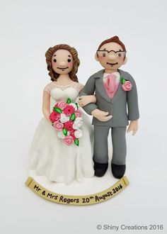 Zoe & Sam's handmade personalised wedding caketopper by www.shinycreations.co.uk August 2016 Shiny Creations