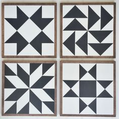 """----- Wooden Barn Quilts -----TURNAROUND TIME: 2-3 weeks for constructionPRODUCT: This is for a SET OF 4 coordinating wooden Barn Quilts - ALL ONE COLOR. MEASUREMENTS: 11"""" x 11"""" eachDESIGN: GOLD RUSH, FLYING GEESE, LUCKY, and OHIO STAR.MATERIAL: Solid woodPAINTING: Hand painted – for indoor use only.  COLORS:  (1) color for the design.  Background in creamy white.EDGE FRAMING: natural or stainedBACK: unfinished, raw wood.DISPLAY: This product ..."""